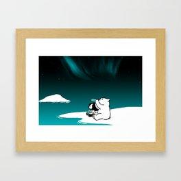 Icelandic bear, aurora borealis Framed Art Print