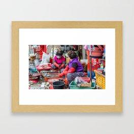 Selling Seafood, Jagalchi Fish Market, Busan, South Korea Framed Art Print