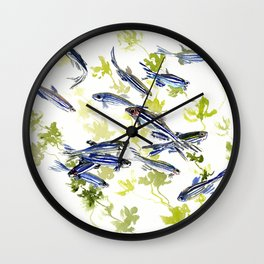 Fish Blue green fish design zebra fish, Danio aquarium Aquatic design underwater scene Wall Clock