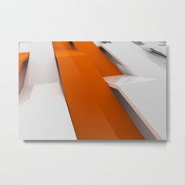 White plastic waves with orange elements Metal Print