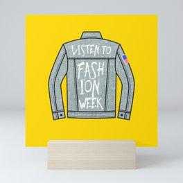 Fashion Week denim graphic - Yellow Mini Art Print