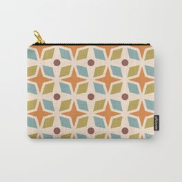 Mid Century Modern Abstract Star Dot Pattern 441 Orange Brown Blue Olive Green Carry-All Pouch