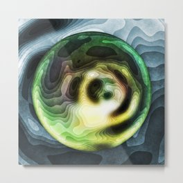 Green Planet In A Blue Sky Metal Print
