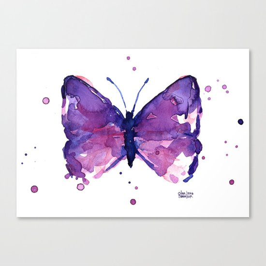 Butterfly Purple Watercolor Animal Canvas Print