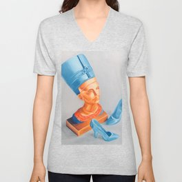 Queen Nefertiti with Barbie shoes Unisex V-Neck