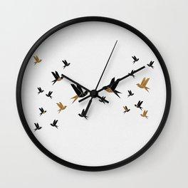 Origami Birds Collage III, Minimalist Wall Art Wall Clock