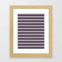 Pink Lace Pink and Black Horizontal Var Size Stripes Framed Art Print