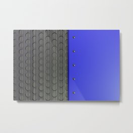 Colored plate with rivets and circular metal grille Metal Print