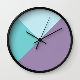 Geometric abstract teal aqua purple color block pattern Wall Clock