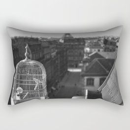 The Gilded Bird Cage, Paris, Eiffel Tower panorama black and white photography / photograph Rectangular Pillow