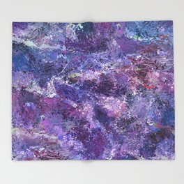 Violet drip abstraction Throw Blanket