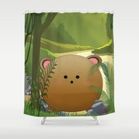 cartoon Shower Curtains featuring Cartoon dog by Cs025