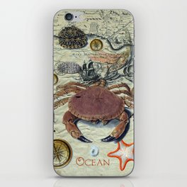 Crab And Ancient Map iPhone Skin