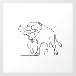 African Buffalo Continuous Line Art Print