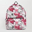 Pink black and white floral pattern . by fuzzyfox85