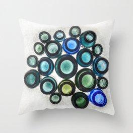Bromo Seltzer Vintage Glass Bottles Top - Abstract Throw Pillow
