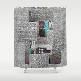 The Art of Grey Digital Collage Shower Curtain