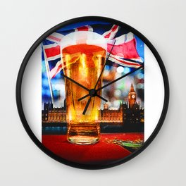 English Beer In A London Pub Wall Clock