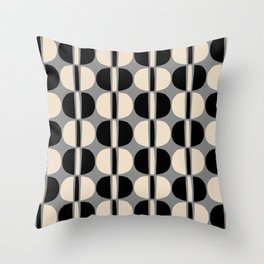 Mid Century Modern Geometric Pattern 140 Beige Gray and Black Throw Pillow