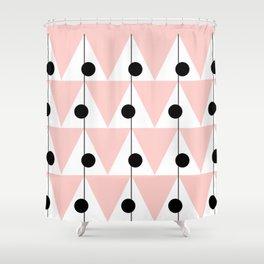 Vintage Vibes Large Geometric Pattern Pink Shower Curtain