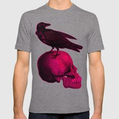 RAVEN SKULL IV Mens Fitted Tee Tri-Grey SMALL