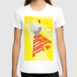 Morning Rooster Rise and Shine Typography Illustrated Print T-shirt