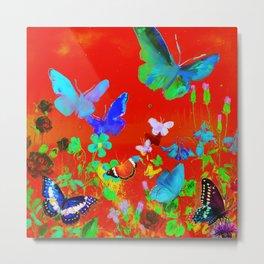 Red Butterflies & Flowers Metal Print