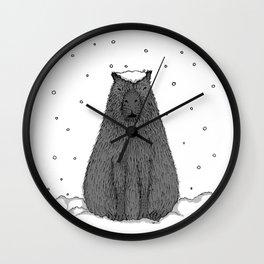 Capybara and Snow Wall Clock