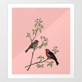 Peaceful harmony in the cherry tree - Illustration Art Print