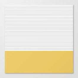 Minimal Gray Stripes - yellow Canvas Print
