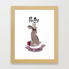 Pretty but fierce jackalope with flowers Framed Art Print