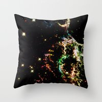 cosmic Throw Pillows featuring Cosmic by 2sweet4words Designs