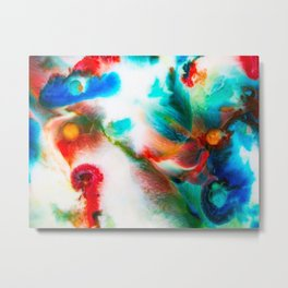 Milk Abstract in blue, red & yellow Metal Print