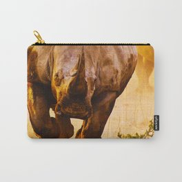 Charging Black Rhino (Diceros Bicornis also known as Hook-lipped Rhino) - Native to East and Southern Africa - Unlike its name, its Colors vary from Brown to Gray - Animal Artwork - Amazing Oil painting Carry-All Pouch
