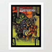 superheroes Art Prints featuring Superheroes  by ZIMZONOWICZ