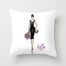 """""""Breakfast with Audrey"""" Fashion Illustration by Hayworth Design  Throw Pillow"""
