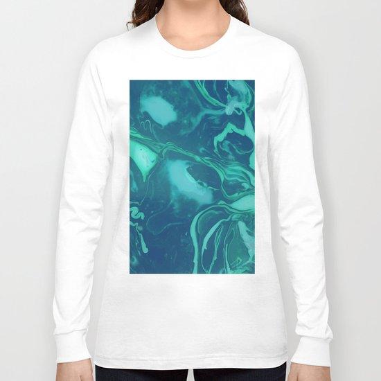 Teal Marble Long Sleeve T-shirt