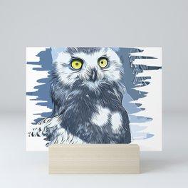 snow owl vector art by gxp-design Mini Art Print