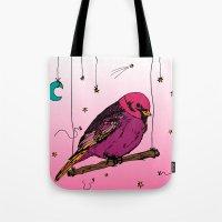 birdy Tote Bags featuring Birdy by Gwladys R.