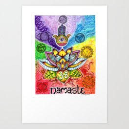 namaste: 7 chakras Art Print
