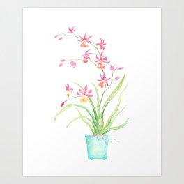 Watercolor pot orchid Art Print