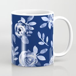 Hand painted navy blue white watercolor floral roses pattern Coffee Mug