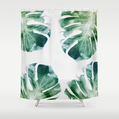 Watercolor Monstera Shower Curtain