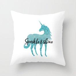 Glitz Aqua Unicorn Sparkle Throw Pillow