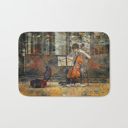 Sidewalk Cellist Bath Mat