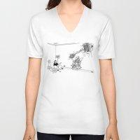 tesla V-neck T-shirts featuring Tesla by Dan Ashwood