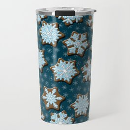 Frosted Gingerbread on Winter Night Sky Travel Mug
