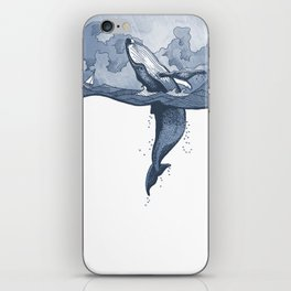 Hump Back Whale breaching in Stormy Seas with tiny boat - nautical themed illustration iPhone Skin