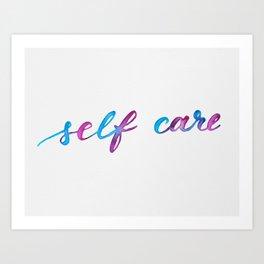Self care - purple and blue Art Print