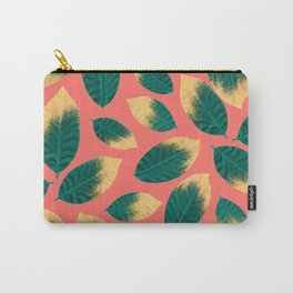 Gold Painted Leaf Pink Carry-All Pouch
